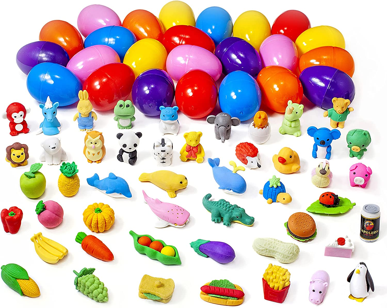 AMOFACIO 24 Pack Prefilled Easter Eggs Fillers with 48PCS Food Animal Erasers Toys for Kids, Halloween Mini Cute Pencil 3D Erasers Bulk Puzzles Toys School Supplies Prizes Gifts for Students
