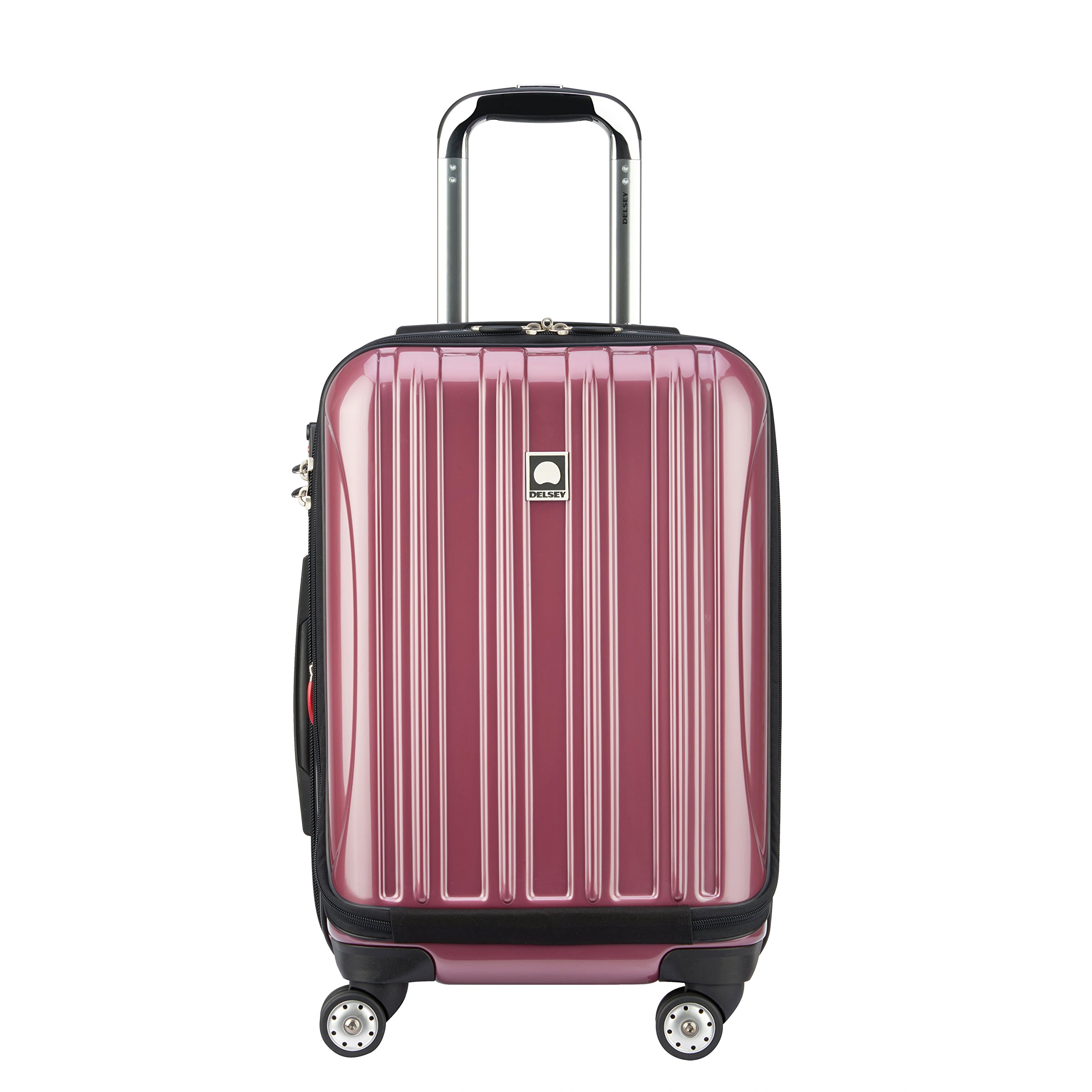 Delsey Luggage Helium Aero, International Carry On Luggage, Front Pocket Hard Case Spinner Suitcase, Peony Pink