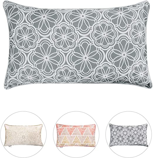 Grey Gold Floral Embossed Two Sided Print Cushion Cover Pillow Sofa Bed 16 x 16