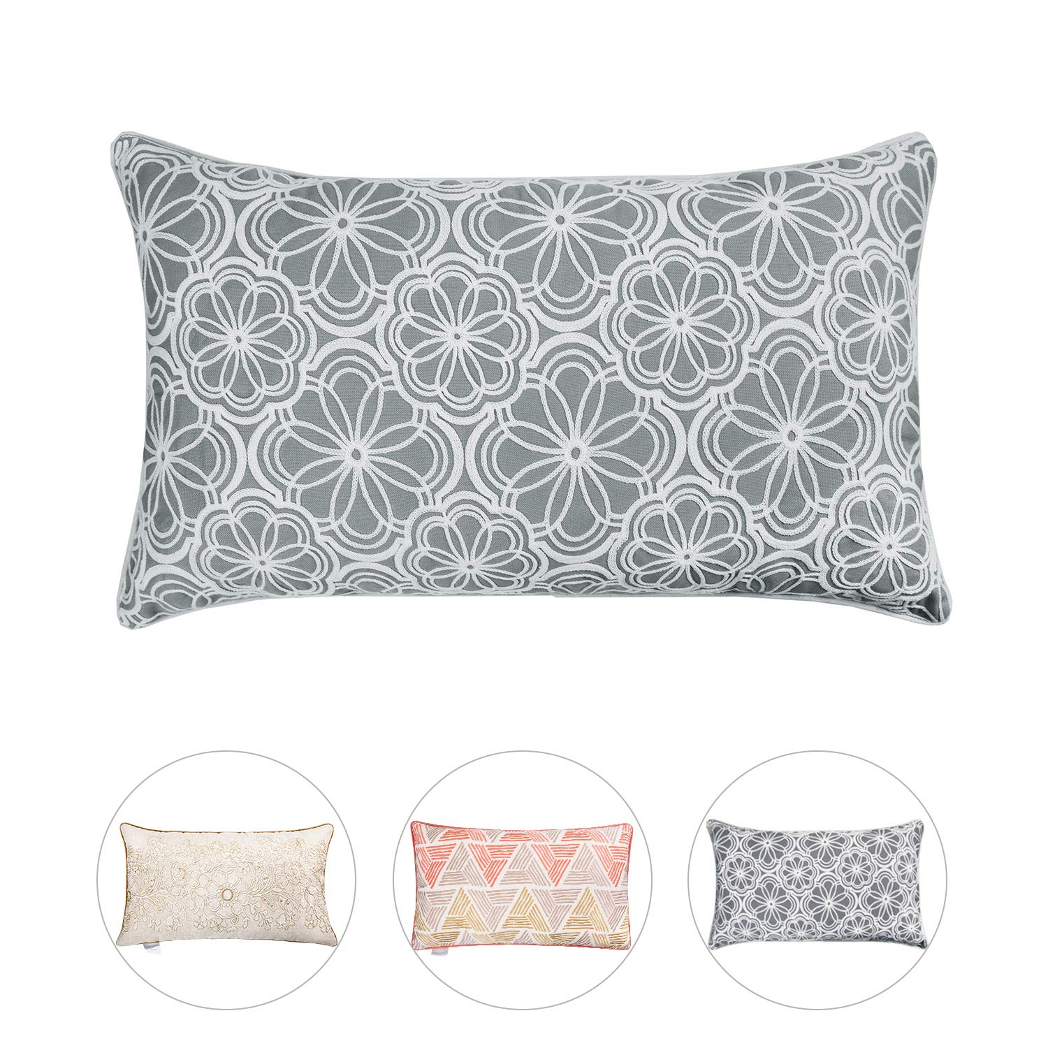 Hahadidi Decorative Throw Pillow Covers Flower Crewel Embroidery Pillow Case Cushion Covers for Bed Sofa Couch Car,Cotton Home Décor Light Grey,14 x 24 Inch(35x60cm)