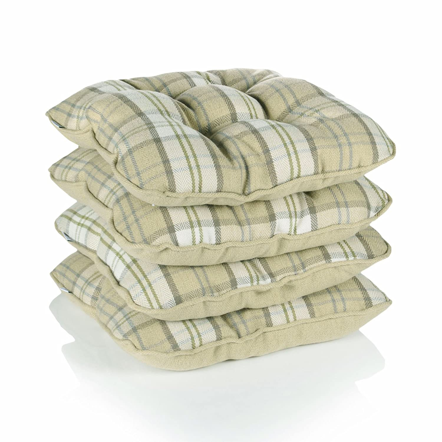 Lewis Tartan Check Piped Chunky Dining Kitchen Seat Pads, Mustard - Set of 4 Dove Mill Kitchen