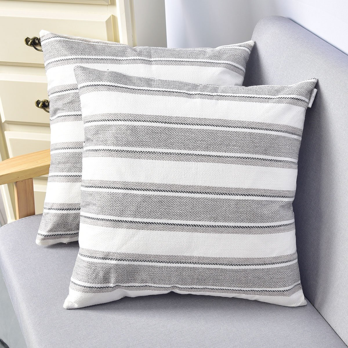 Natus Weaver Light Grey Pure White Striped Throw Cushion Faux Linen Home Decorative Hand Made Pillow Case Cushion Cover For Naps , 18 x 18 inch , 2 Pieces
