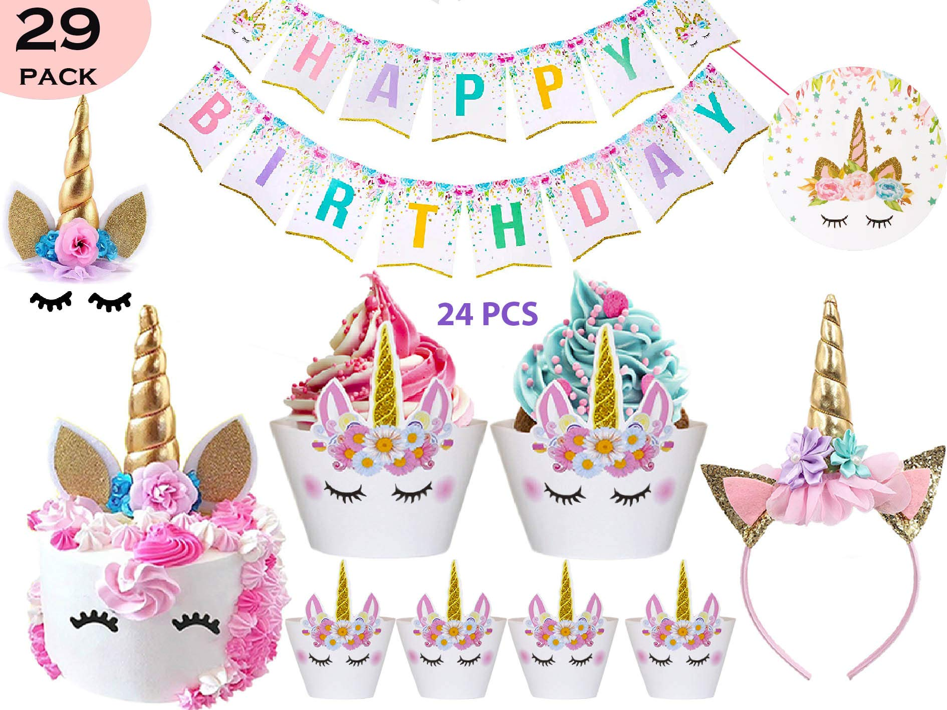 Bestus (29 Pack) Unicorn Cake Topper with Eyelashes, Headband, Cupcake Wrappers and Happy Birthday Banner. / Unicorn… 2