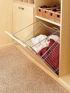 Rev-A-Shelf Closet Tilt Basket (Chrome) Hampers