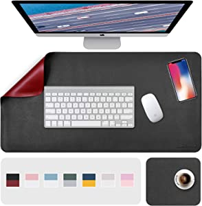 """Desk Pad, Desk Mat, Mouse Mat, XL Desk Pads Dual-Sided Black/Red, 31.5"""" x 15.7"""" + 8""""x11"""" PU Leather Mouse Pad 2 Pack Waterproof, Mouse Pad for Laptop, Home Office Table Protector Blotter Gifts"""