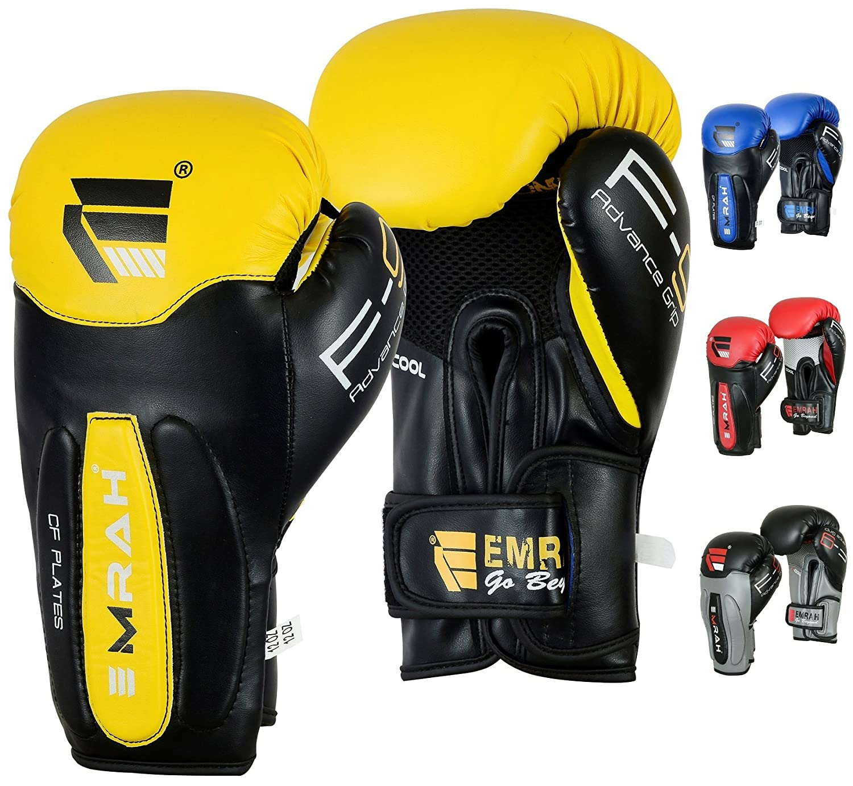 Guantes de boxeo Emrah de piel con gel, para entrenamiento de boxeo o Muay Thai