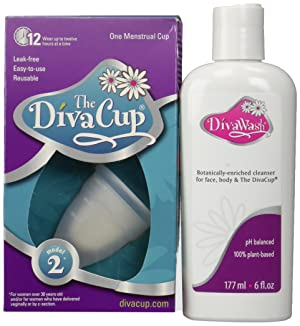 Image: Diva Cup Model 2 Menstrual Cup | Feminine hygiene protection | reusable, bell-shaped menstrual cup worn internally |  Menstrual cups have existed since the 1930s