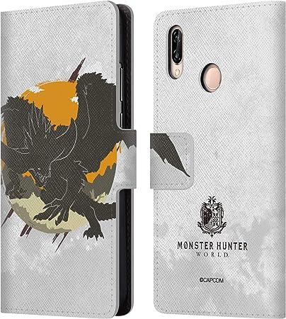 Head Case Designs Licenza Ufficiale Monster Hunter World Nergigante Silhouettes Cover in Pelle a Portafoglio Compatibile con Huawei P20 Lite