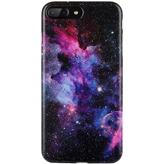 half off 5f58e 8b5d3 DICHEER iPhone 7 Plus Case,iPhone 8 Plus Case,Cute Purple Blue Nebula for  Women Girls Slim Fit Thin Clear Bumper Glossy TPU Soft Rubber Silicon Cover  ...
