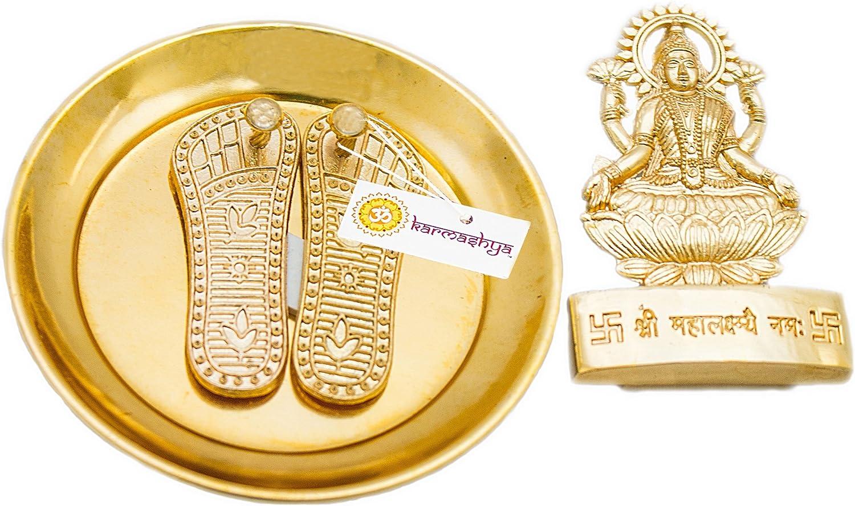 KARMASHYA Large Shri Vara Maha Laxmi Pooja Lakshmi Paada Charan Paduka Statue Combo Set