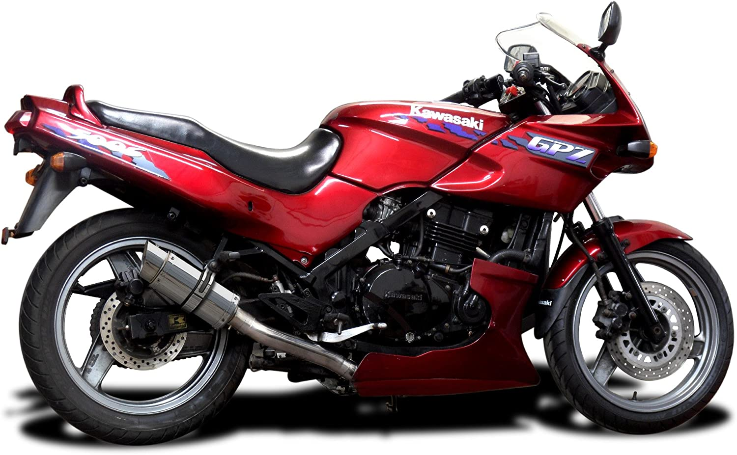 Delkevic Full 2-1 compatible with Kawasaki GPZ500S EX500 Mini 8 Stainless Round Muffler Exhaust 87-09
