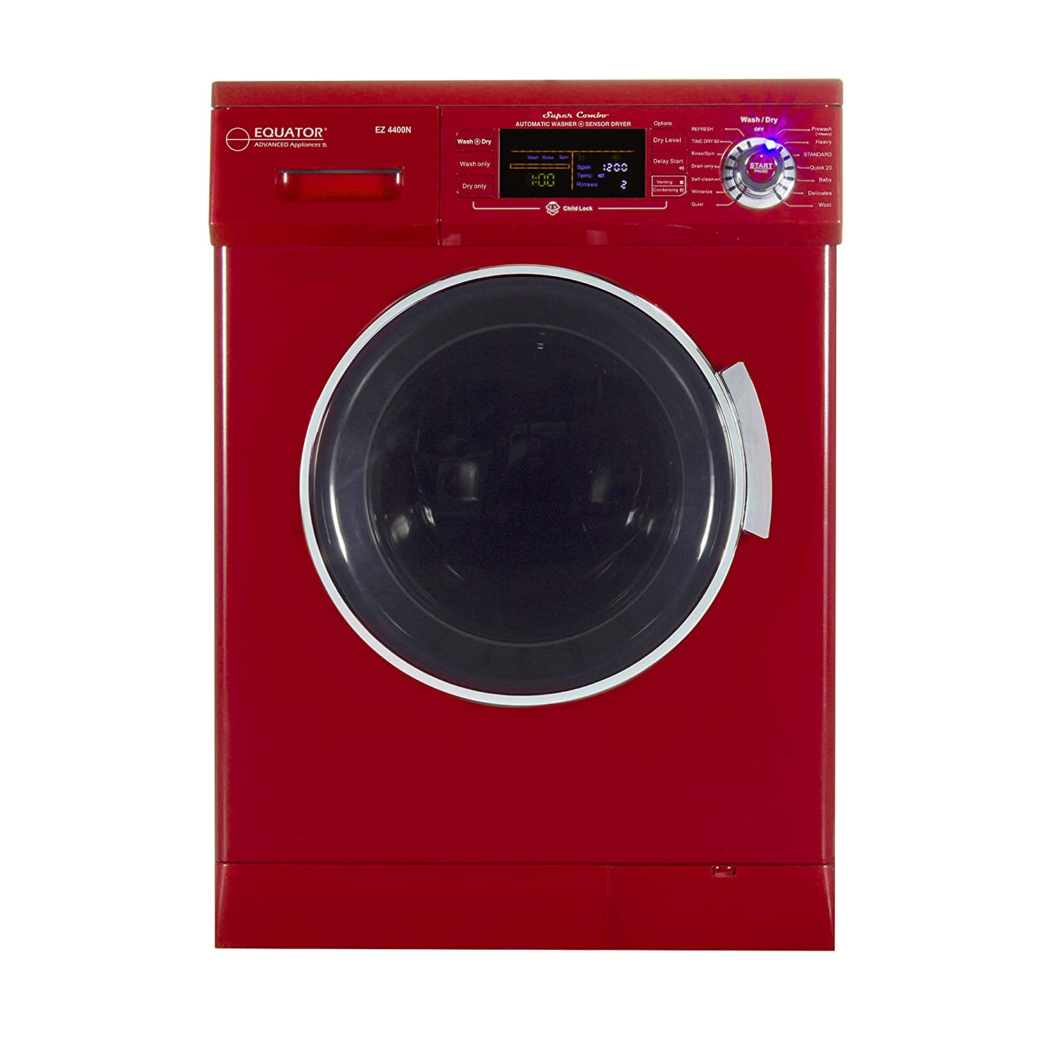 All-in-one 1200 RPM New Version Compact Convertible Combo Washer Dryer with Fully Digital Easy to use Control Panel in Merlot