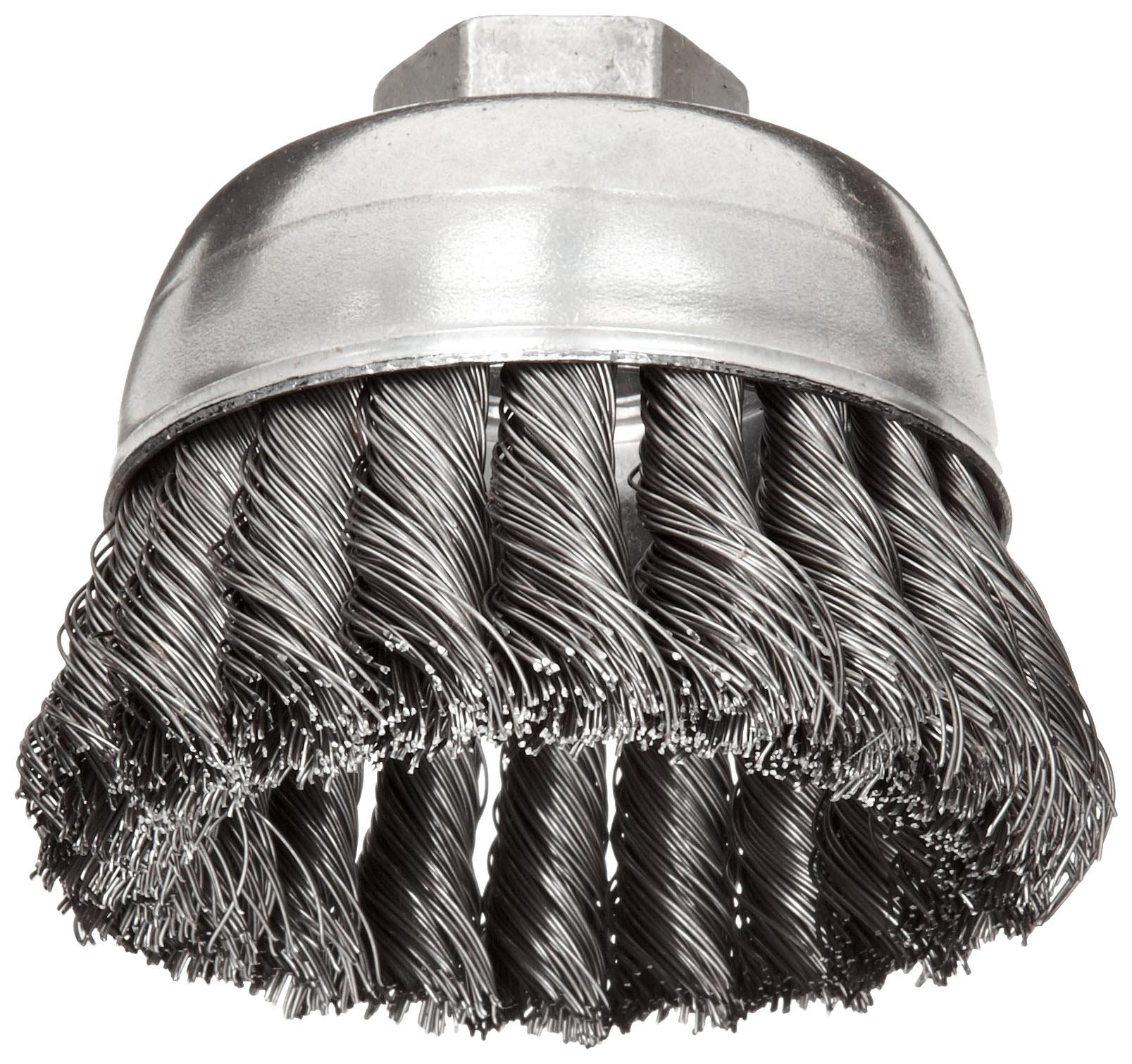 Weiler Wire Cup Brush, Threaded Hole, Steel, Partial Twist Knotted, Single Row, 2-3/4'' Diameter, 0.014'' Wire Diameter, 3/8''-24 Arbor, 1'' Bristle Length, 14000 rpm (Pack of 1)