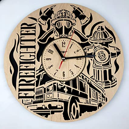 Amazon Com Firefighter Wall Clock Friendly Wood Unique Gift Idea
