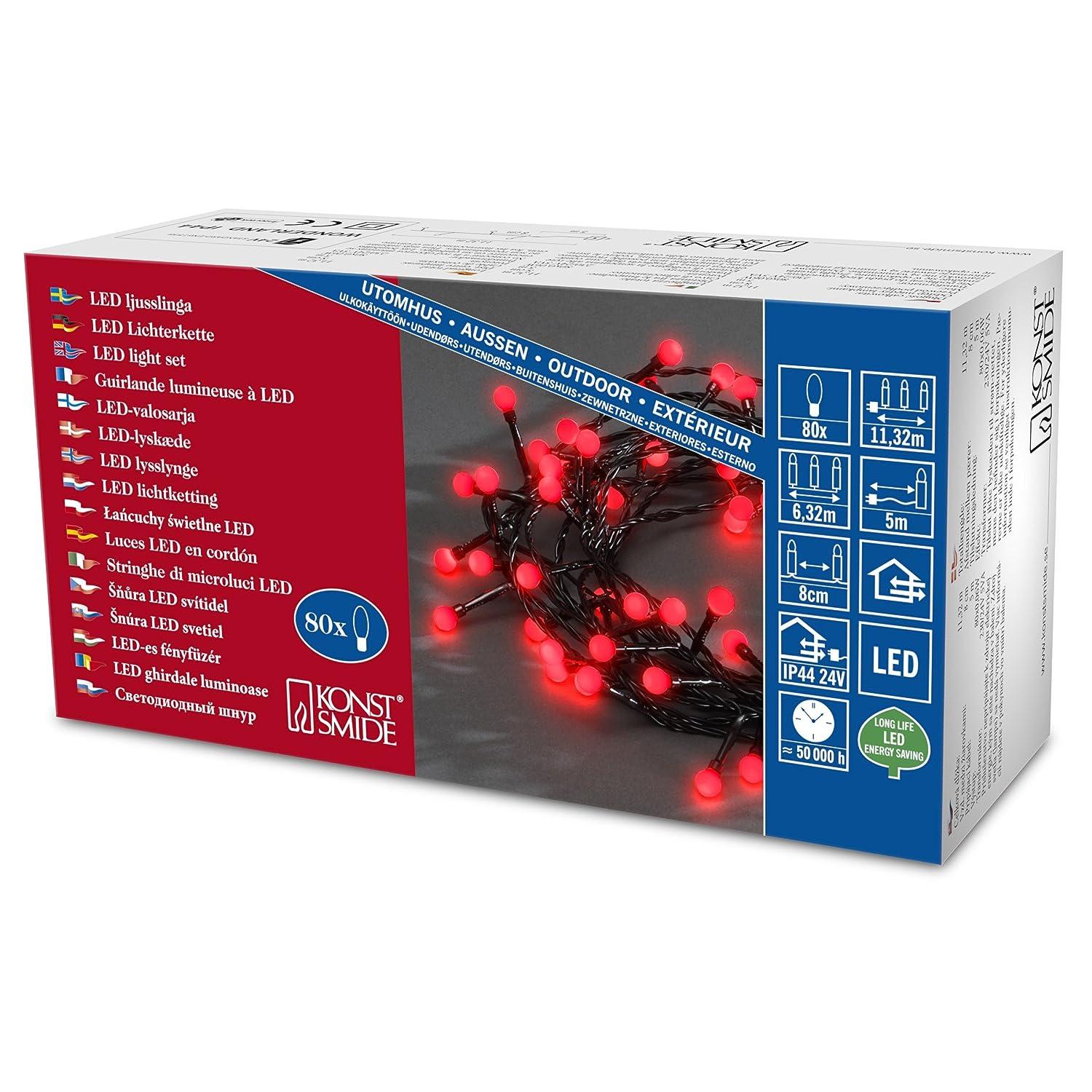 IP44 80 roten Dioden//schwarzes Kabel 3691-557/_rot // 24V Außentrafo Konstsmide 3691-557 LED Globelichterkette mit runden Dioden//für Außen