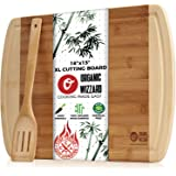 """Organic Bamboo Cutting Board With Drip Groove - Extra Large Chopping Board for Meat, Vegetables or Cheese - Best Kitchen Serving Tray with Juice Groove - Extra Wide & Thick 18"""" x 13"""""""