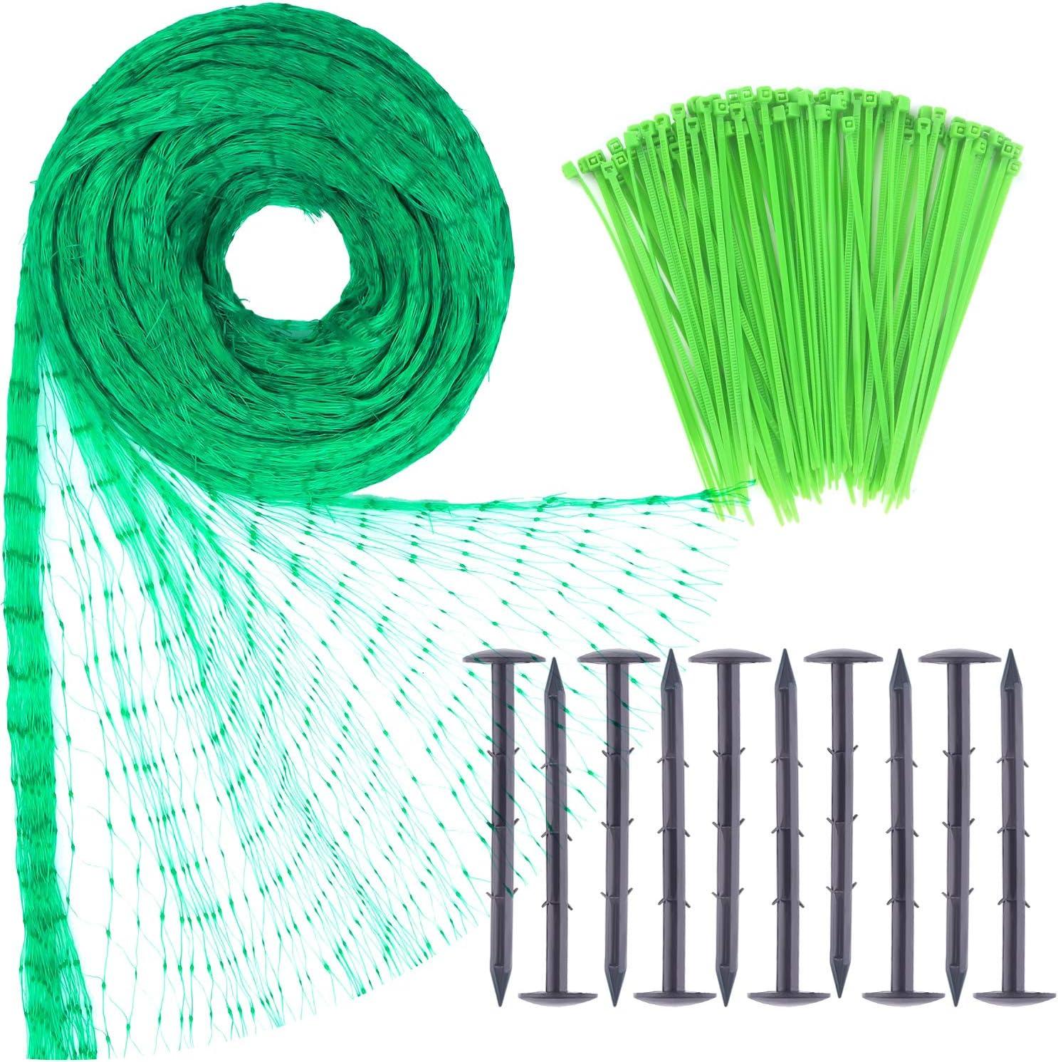 TUPARKA 4m x 10m Red de Malla antipájaros Protege contra roedores Mallas de Aves con 100 Piezas de Bridas de Nylon y 10 Piezas de Clavijas de Seguridad para jardín