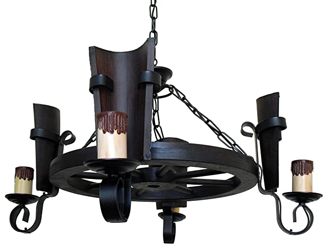 Lámpara rústica de rueda de carro 4 luces con tejas nogal ...