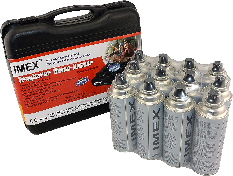i-mex IMEX - Hornillo de gas para camping, tamaño pequeño, en maletín de transporte con 12 cartuchos de gas