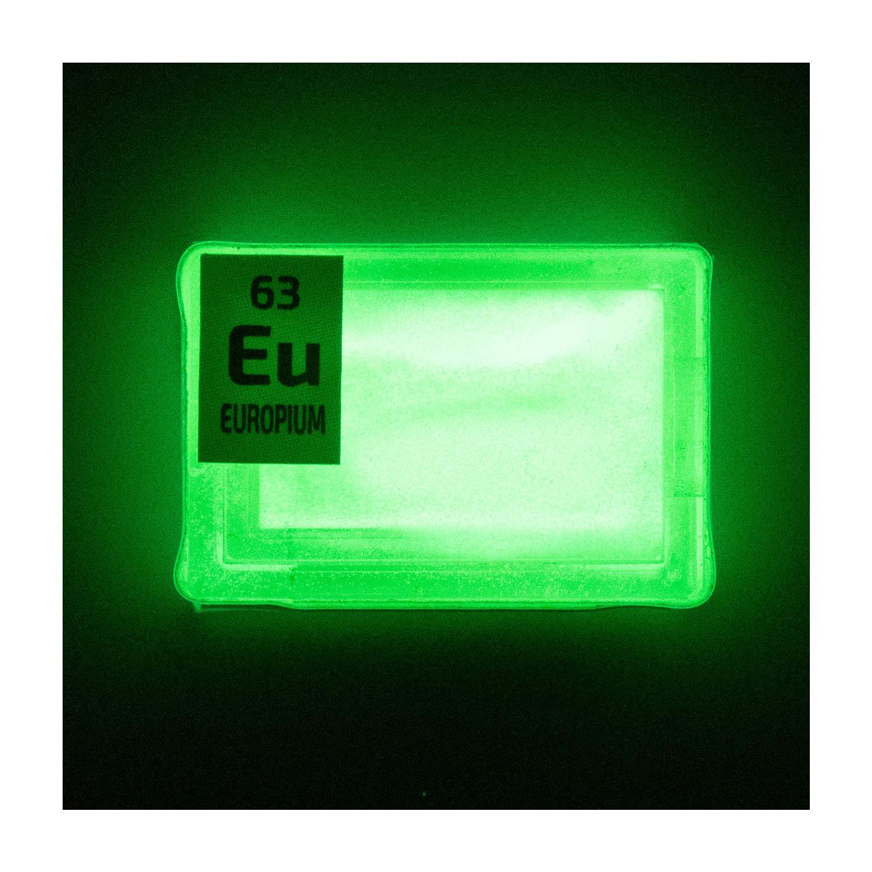 Element EU Sample in a Mini PEGUYS Periodic Element Tile Europium Rare Earth Amazing Glow Powder