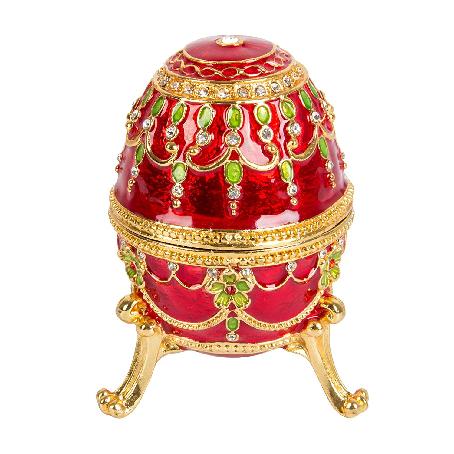 QIFU-Hand Painted Enameled Faberge Decorative Hinged Jewelry Trinket Box Unique Gift For Home Decor QIFU metalcraft