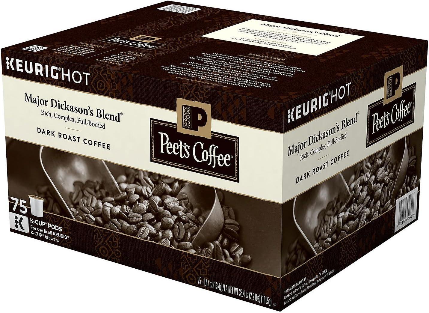 Peet's Coffee Major Dickason's Blend, Dark Roast (75 K-Cups)