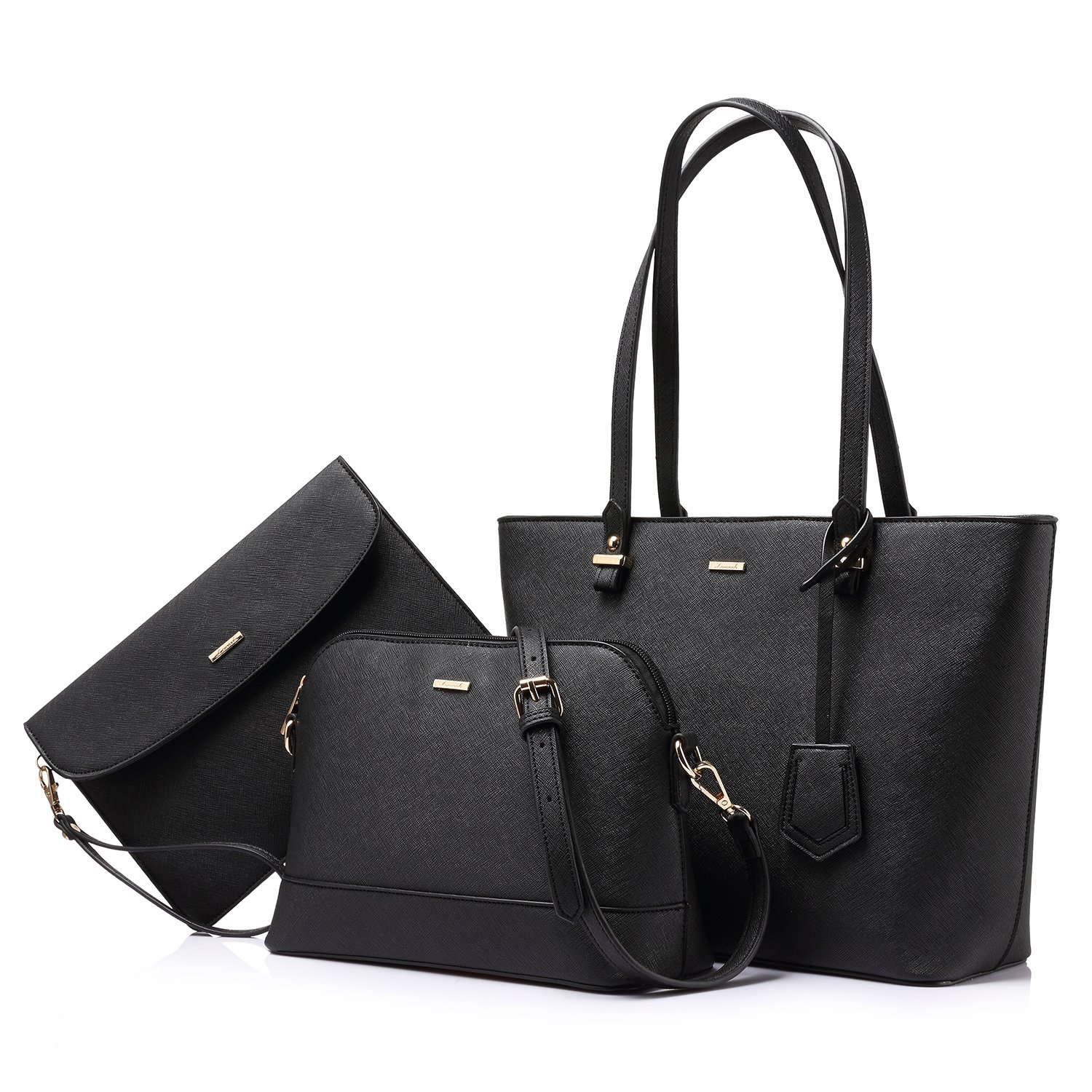 Handbags for Women Shoulder Bags Tote Satchel Hobo 3pcs Purse Set Black by LOVEVOOK