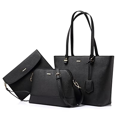 8d582ca76e87 Amazon.com  Handbags for Women Shoulder Bags Tote Satchel Hobo 3pcs Purse  Set Black  Shoes