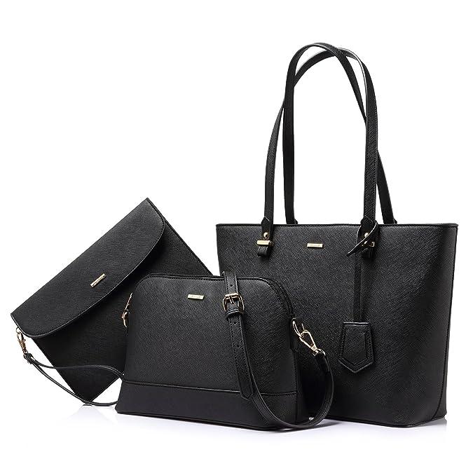 6659d1699f3b Amazon.com: Handbags for Women Shoulder Bags Tote Satchel Hobo 3pcs Purse  Set Black: Shoes