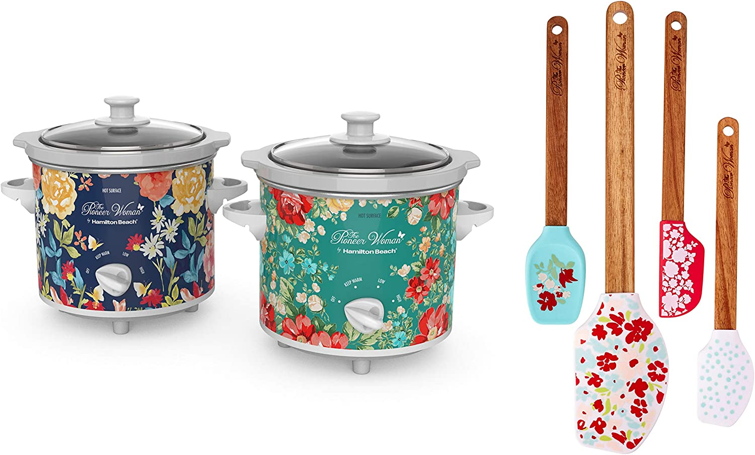 The Pioneer Woman 1.5-Quart Slow Cooker| Set of 2| Fiona Floral & Vintage Floral by Hamilton Beach Bundle Garden Party Silicone Spatula and Mini Spatula Set| 4- Pack| Teal|