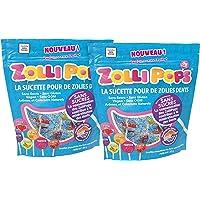 Zollipops, lot de 2 sachets de 85g de sucettes pour des dents saines et propres, anti-caries, naturelles, sans sucres, parfums fruits assortis