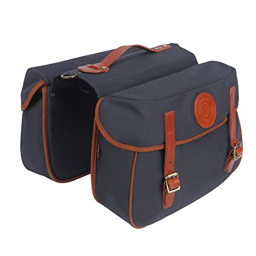 TOURBON Waterproof Canvas Bicycle Bike Rear Seat Carrier Bag Cycling Double Roll-up Pannier Bag Pack