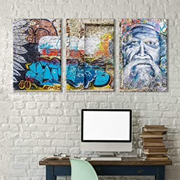Amazon De 3 Teilige Leinwandbild Motiv Triptychon Street