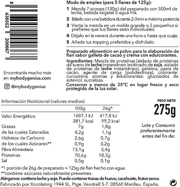BODY GENIUS Protein Flan (Cookies&Cream). 275g. Preparado en polvo para flan proteico. Con Stevia y Sin Azúcares Ni Polialcoholes Añadidos. Alto en ...