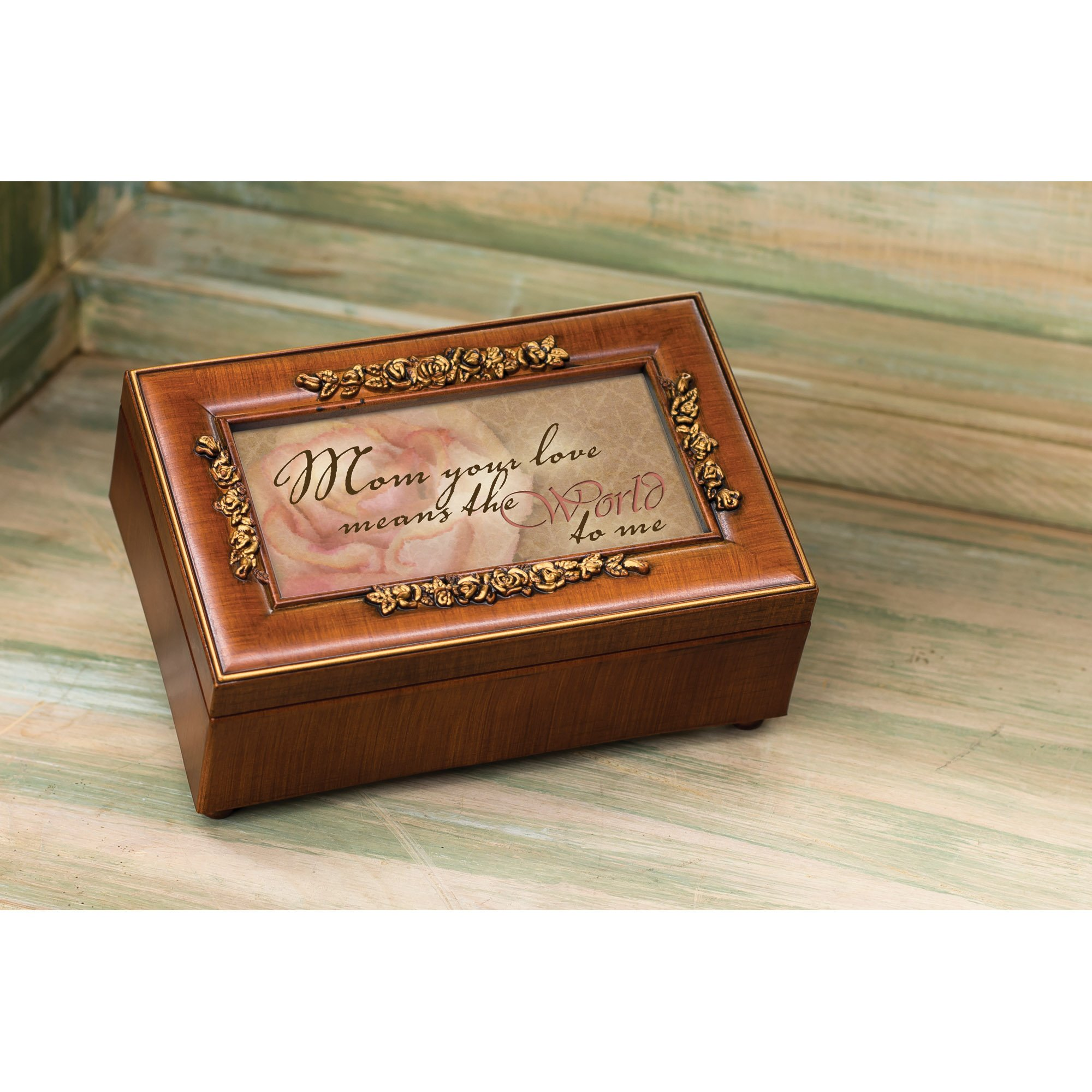 Mom Your Love Wood Finish Rose Jewelry Music Box - Plays Tune Wind Beneath My Wings by Cottage Garden (Image #5)