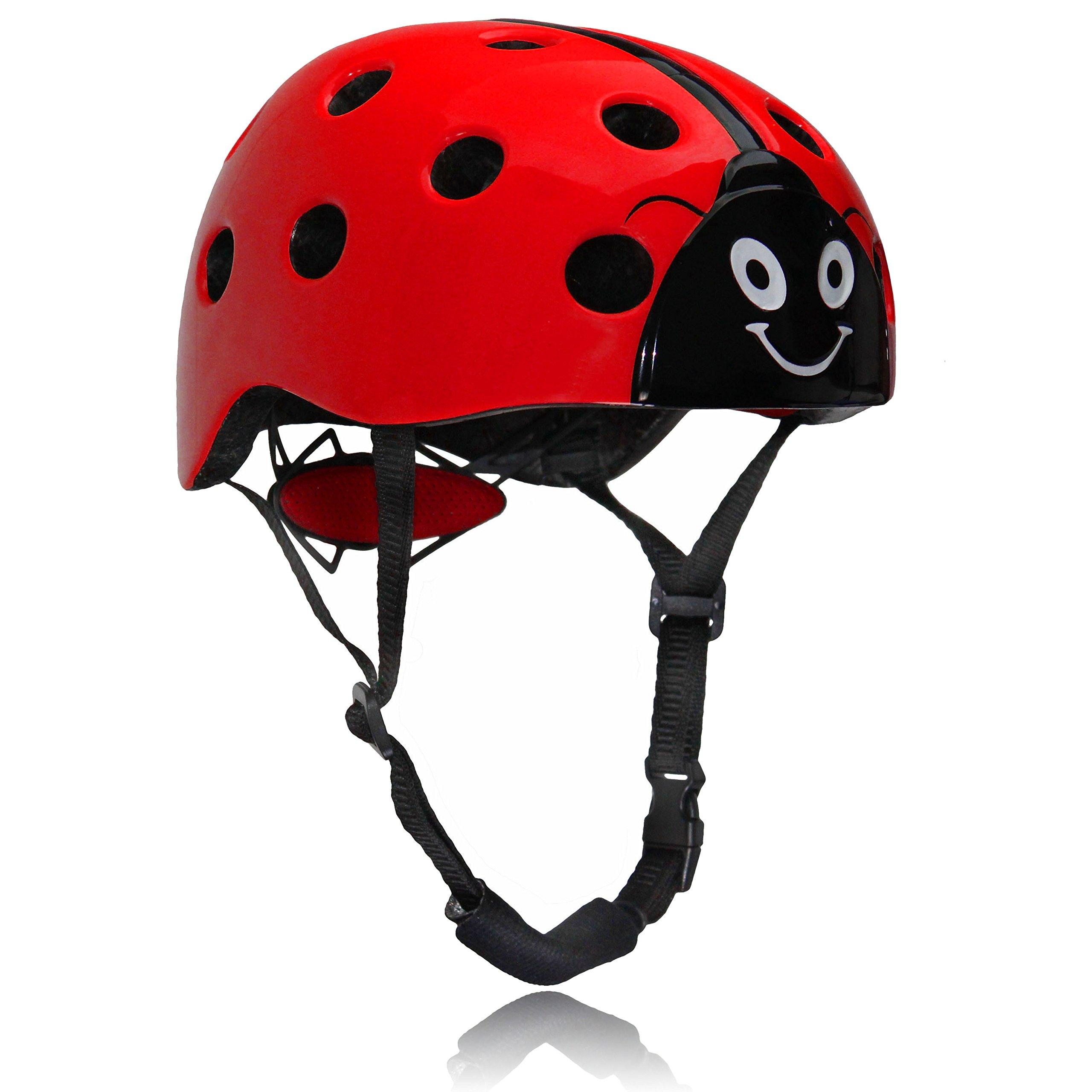 Dostar Kids Multi-sport Adjustable Ladybug Helmet –Safety Comfort Cycling Skateboarding Skating Durable Kids Bike Helmets for 3 to 10 Years old Boys/Girls (Red)