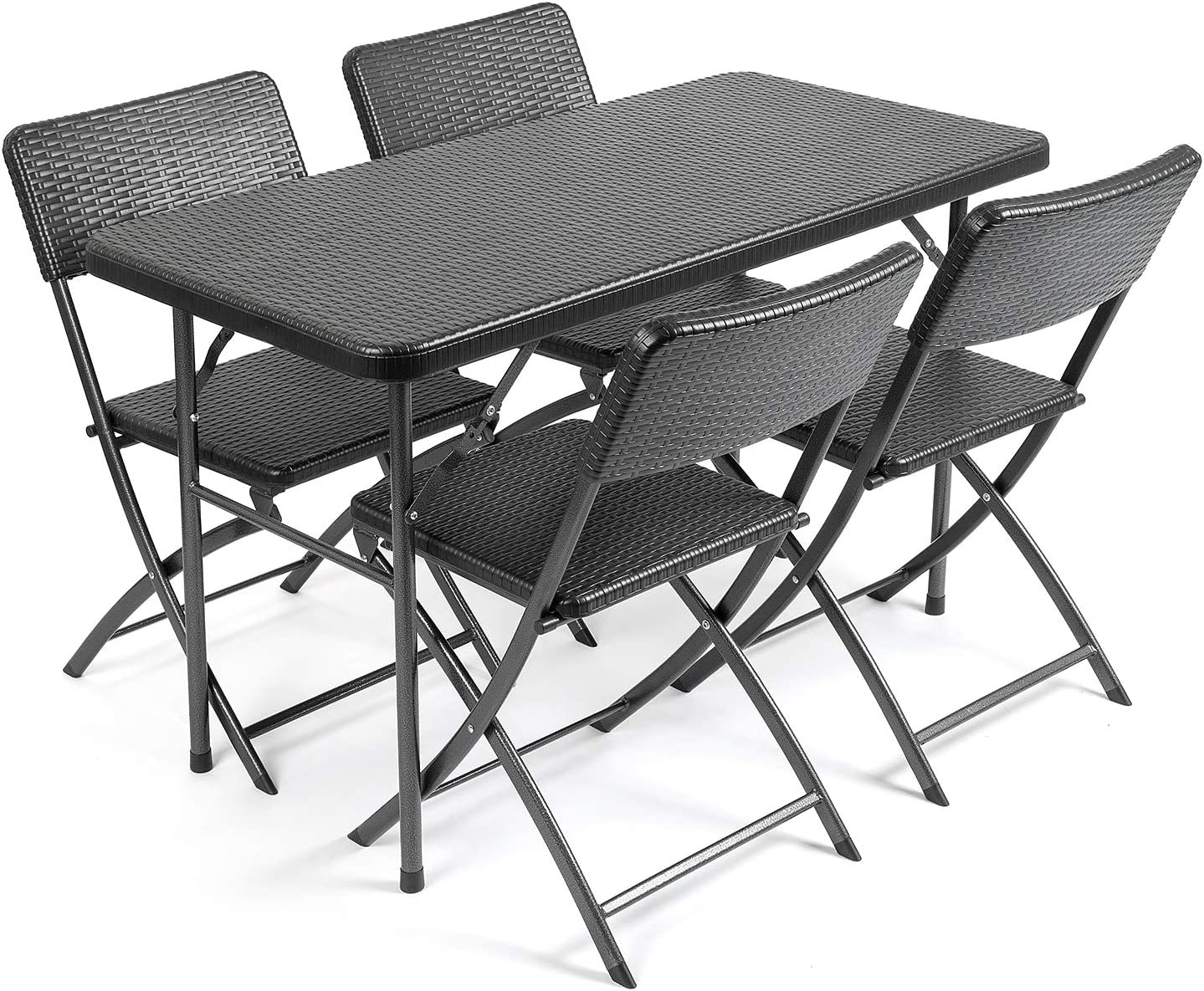 Christow Rattan Effect Garden Dining Set 4ft Folding Table 4 Chairs Furniture Amazon Co Uk Kitchen Home