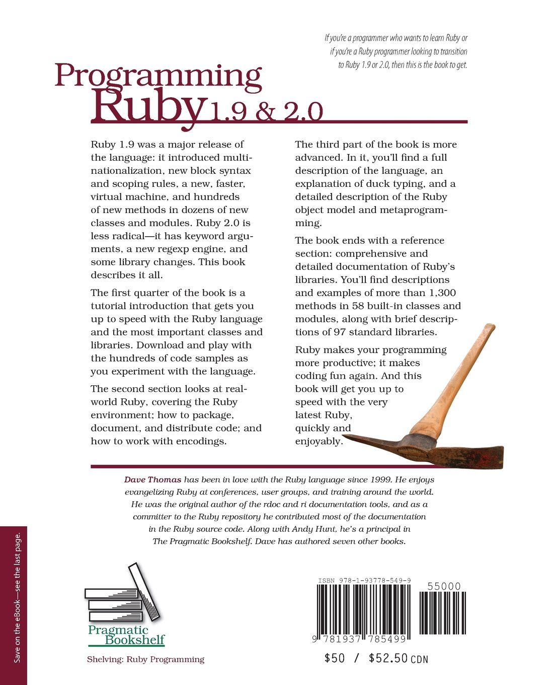 Programming ruby 1 9 2 0 the pragmatic programmers guide the facets of ruby amazon co uk dave thomas andy hunt chad fowler 9781937785499 books