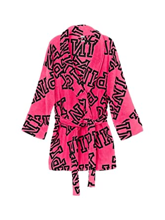 25da737d7b Victoria s Secret Pink Cozy Robe Pink Font Print at Amazon Women s ...