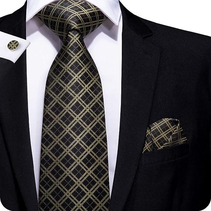 aaa235f7e18f Amazon.com: Hi-Tie Mens Metallic Check Plaid Tie Necktie with Cufflinks and Pocket  Square Tie Set: Clothing