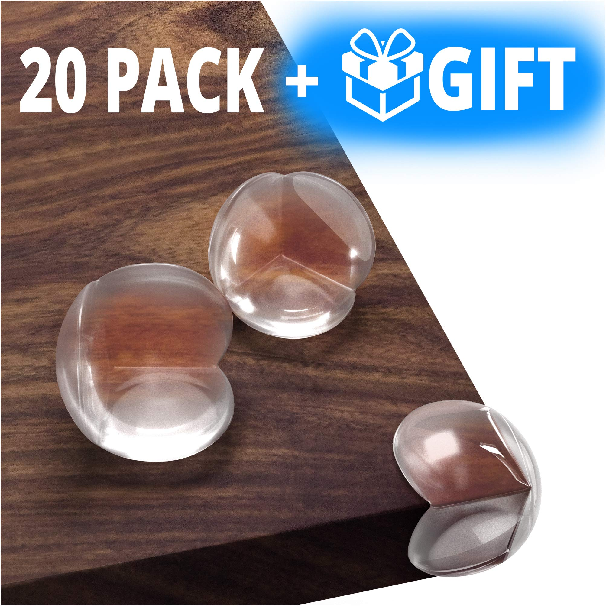 Kids Clear Corner Guards -20 Pack + Free Gift- Child Safety Sharp Corner Protector - Table Corner Protectors for Baby Proofing - Baby Safety Adhesive Edge Bumpers - Glass Furniture Child Proof Guards by Family Care