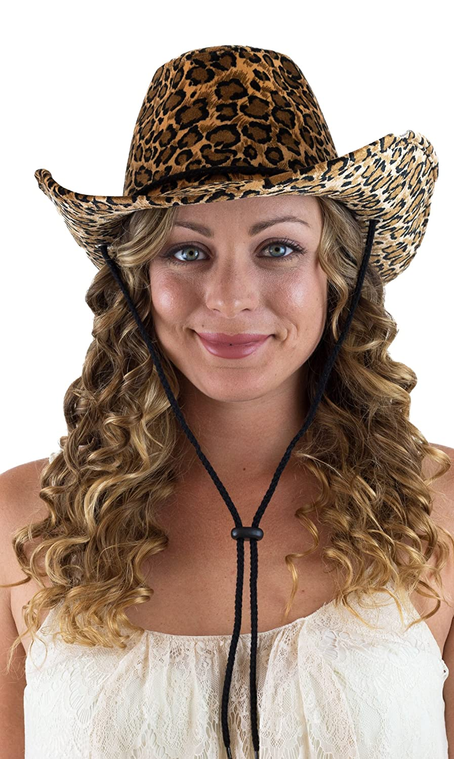 Captain Women's Cowboy Hat Leopard Print Cowgirl Hat With Fashion String