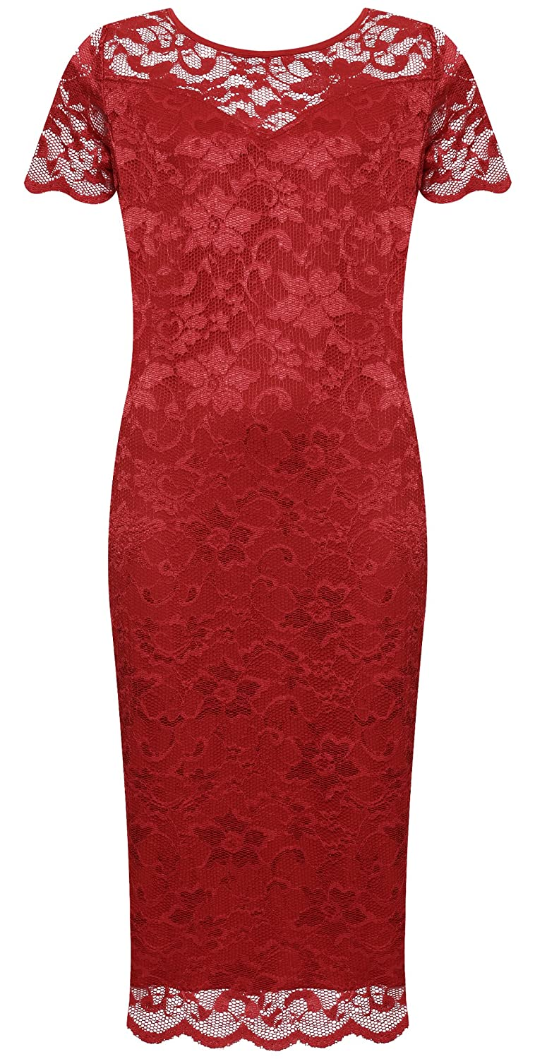 31afdf37dba WearAll Plus Size Women s Lace Lined Short Sleeve Midi Dress at Amazon  Women s Clothing store