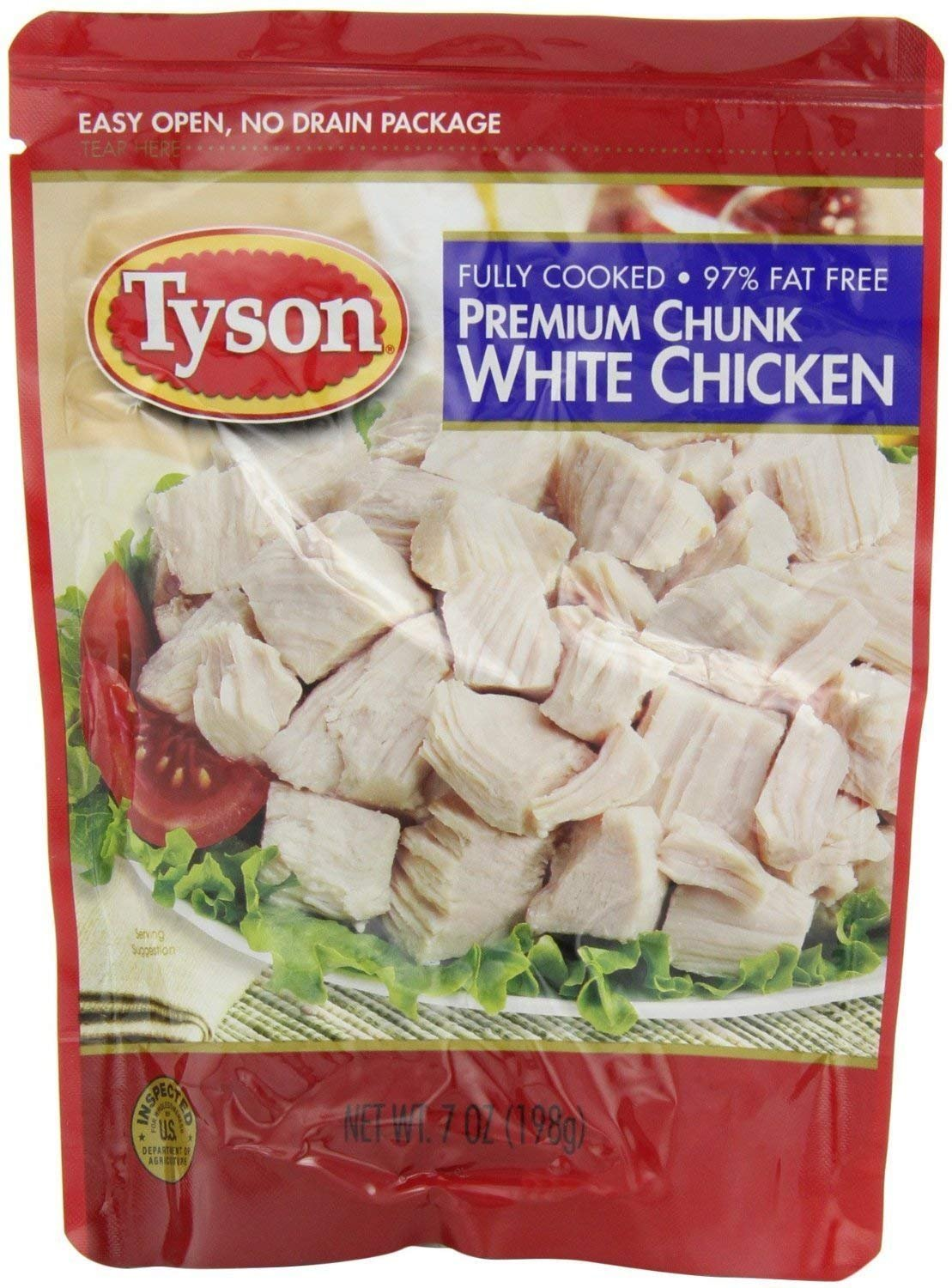 Tyson, Premium Chunk White Chicken, Fully Cooked, 97% Fat Free, 7oz Pouch (Pack of 6)