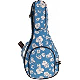 """MUSIC FIRST Original Design 15mm Thick Padded Hawaii Style """"Blue and White Plumeria"""" Canvas A & F Style (Standard) Mandolin G"""