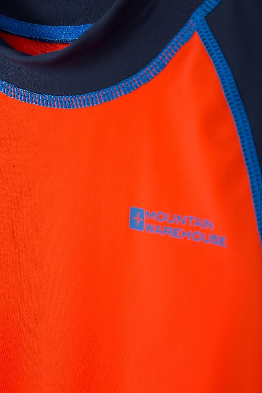 Maglia con Cuciture Piatte Protezione Solare SPF 50+,Asciugatura Rapida Mountain Warehouse Maglietta da Spiaggia Mezze Maniche Bambino per Nuotare e sotto la Muta