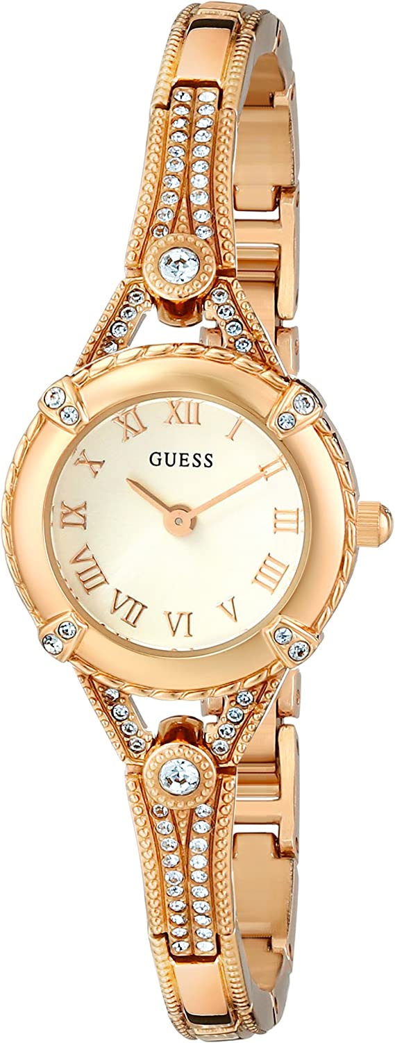 GUESS Women's Stainless Steel Petite Vintage Inspired Crystal Bracelet Watch