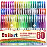 Caliart 60 Glitter Gel Pens Glitter Coloring Pen Set for Adult Coloring Books Bullet Journal Mandalas Crafting Doodling Drawing Scrapbooking