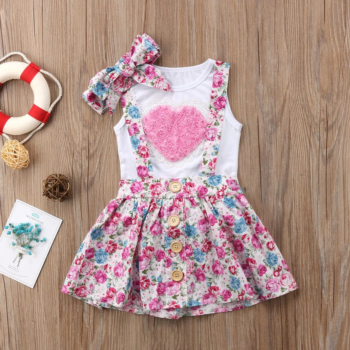 Little Big Sister Matching Love Vest Floral Shorts Or Skirt Headband Outfits Set