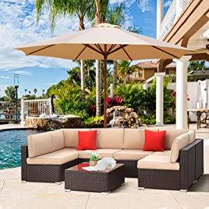 SUNCROWN Patio 7 Piece Sectional Sofa Set All-Weather Black Brown PE Wicker Full Back Outdoor Set with Washable Cushions and Glass Coffee Table for Balcony, Backyard, Porch, Garden